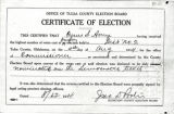Certificate granted to Cyrus S. Avery from Tulsa County Election Board