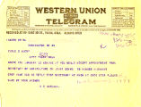 Telegram from W.C. Markham  to Cyrus S. Avery, dated January 24, 1925