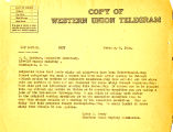 Telegram from Cyrus S.Avery to W.C. Markham, dated February 8, 1926