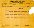 Telegram from Cyrus S. Avery to W.C. Markham, dated January 25, 1925