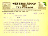 Telegram from Elmer Thomas to Cyrus S. Avery dated February 9, 1926