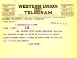 Telegram from Elmer Thomas to Cyrus S. Avery dated February 10, 1926
