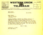 Telegram from Cyrus S. Avery to Elmer Thomas, dated May 22, 1926