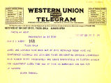 Telegram from Elmer Thomas to Cyrus S. Avery dated May 25, 1926