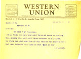 Telegram from L. E. Abbott to Cyrus S. Avery, dated January 31, 1927