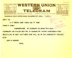 Telegram from John W. Gardner to Cyrus S. Avery, dated August 17, 1925