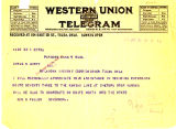 Telegram from Ben S. Paulen to Cyrus S. Avery, dated January 10, 1926