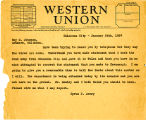 Telegram from Cyrus S. Avery to Roy M. Johnson, dated January 24, 1927
