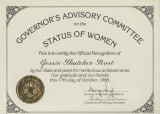 "Certificate for the """"Governor's Advisory Committee on the Status of Women"""""