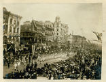 New Orleans parade with marching military band and servicemen, April 27, 1906