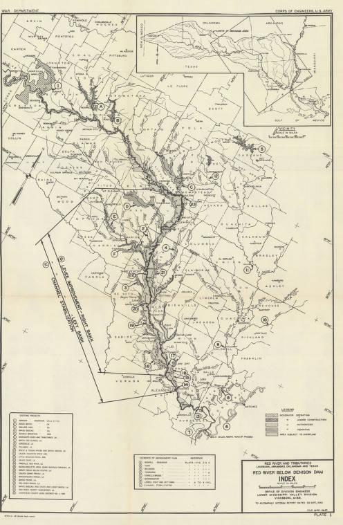 Map Of Texas Oklahoma And Louisiana.Red River And Tributaries Louisiana Arkansas Oklahoma And Texas