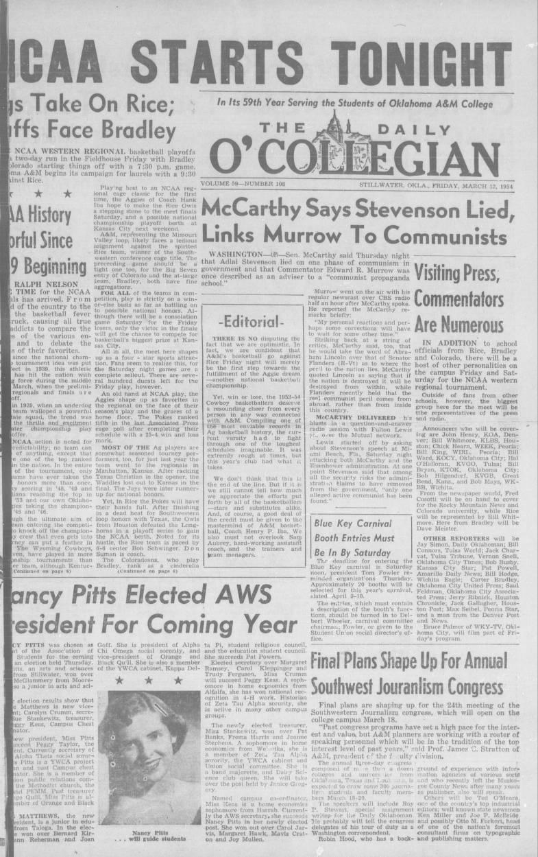 Daily O'Collegian, 1954-03-12 - The Daily O'Collegian 1940 - Digital