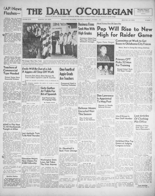 Daily O'Collegian; The O'Collegian, 1941 10 01 The Daily O