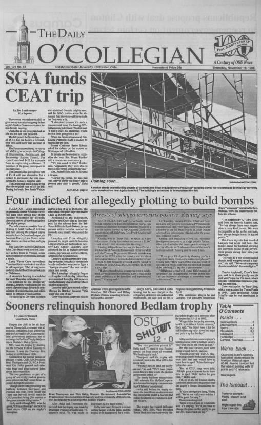 Daily O'Collegian, 1995-11-16 - The Daily O'Collegian 1980 - Digital