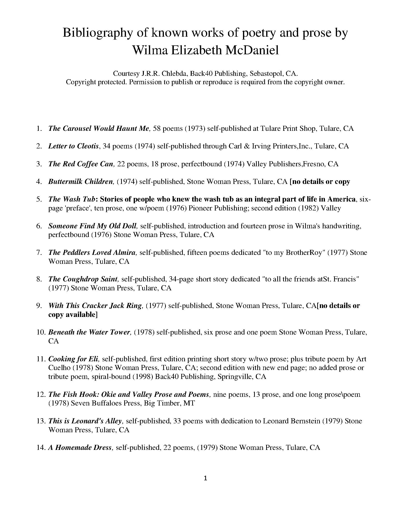 Bibliography of Known Works by Wilma Elizabeth McDaniel - Page 1